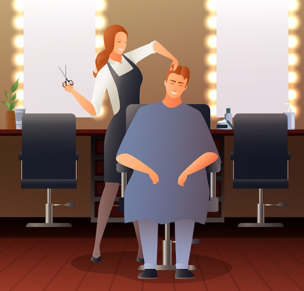 Female hairdresser flat composition