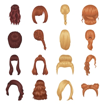 Female hairstyle cartoon elements in set collection for design.
