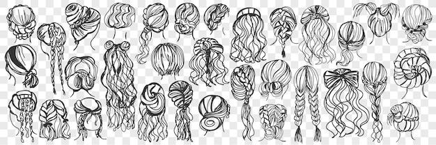女性の髪型落書きセットイラスト