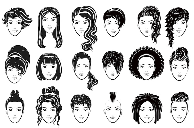 女性の髪型アイコンを設定します。エレガントな女性の顔のロゴを宣伝