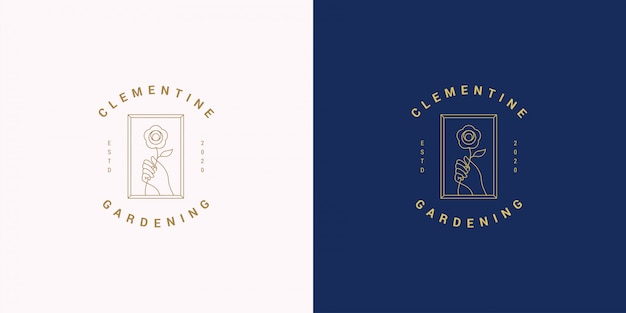 여성 손 제스처 라인과 장미 꽃 벡터 로고 엠블럼 디자인 템플릿 일러스트 간단한 선형 스타일