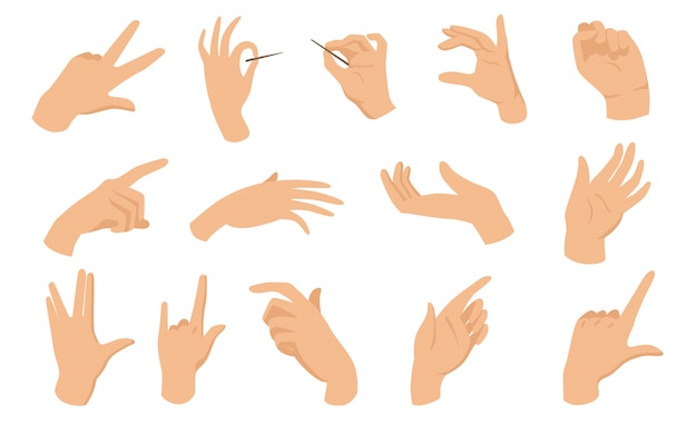 Female hand gestures flat elements