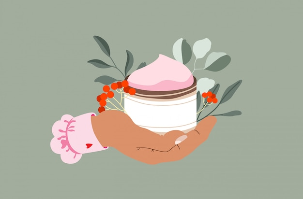 Female hand holding day creme and flowers. botanical elements and skin care product. spa and beauty concept. modern hand drawn  illustration.