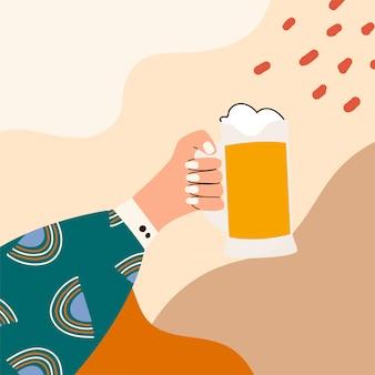 ビールのグラスを持っている女性の手。ガラスを保持しているメンフィスパターンで明るい服を着た女性の手。抽象的な背景の画像。アルコール飲料。ビール愛好家のコンセプトです。フラットイラスト