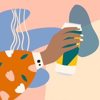 Женская рука держа бокал пива. рука женщины в ярких одеждах с мемфисом узором, холдинг стекла. картинка на абстрактный фон. алкогольный напиток. концепция любителей пива. плоская иллюстрация