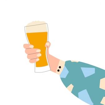 Женская рука держа бокал пива. ганс женщины в яркие одежды с мемфисом узором, холдинг стекла. алкогольный напиток. концепция любителей пива. вид сбоку. плоская иллюстрация