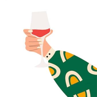 Женская рука держа бокал красного вина. ганс женщины в яркие одежды с мемфисом узором, холдинг стекла. алкогольный напиток. концепция любителей вина. вид сбоку. плоская иллюстрация