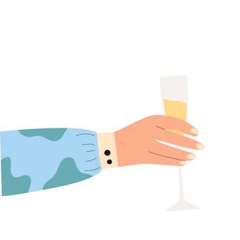 スパークリングワインのガラスを持っている女性の手。メンフィスパターンのガラスを保持している明るい服を着た女性のハンス。アルコール飲料。シャンパン愛好家のコンセプトです。側面図。フラットイラスト