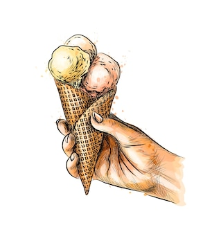 Female hand holding ice cream in waffle cone from a splash of watercolor, hand drawn sketch.  illustration of paints