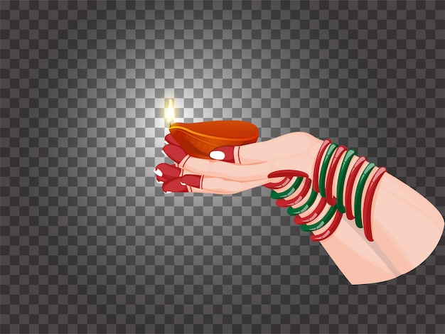 Female hand holding illuminated oil lamp (diya) on black png background.