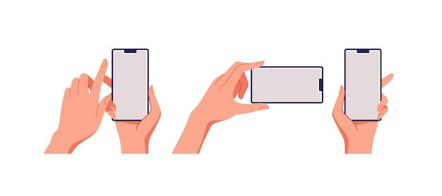 여성의 손을 잡고 스마트 폰, 빈 화면, 전화 모형, 터치 스크린 장치의 응용 프로그램. 삽화.