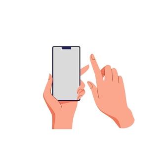 スマートフォンを持っている女性の手。空の画面、電話のモックアップ。タッチスクリーンデバイスでのアプリケーション。