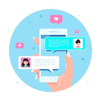 여성의 손을 잡고 스마트 폰, 온라인 채팅 연설 거품. 휴대 전화 메신저 개념