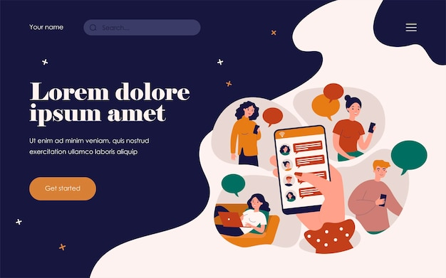 Female hand holding smartphone and sharing news flat vector illustration. cartoon character using mobile phones and laptop chatting online. digital technology and information concept
