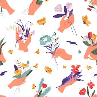 봄과 여름에 피는 여성의 손, 부케와 장식용 잎의 매끄러운 패턴. 튤립과 장미, 데이지와 잎. 휴일 축 하 및 인사말입니다. 평면 스타일의 벡터