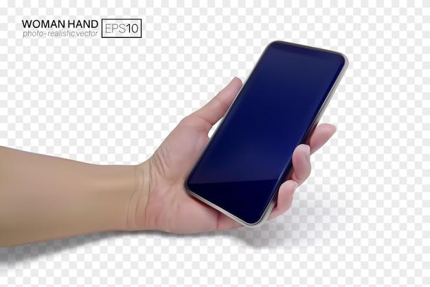 Женская рука держит смартфон. реалистичные векторные иллюстрации, изолированные на прозрачном фоне.