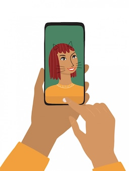 Female hand holds a smartphone.