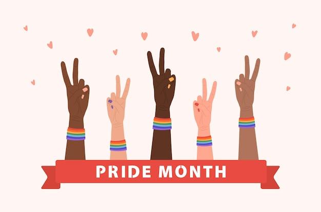 虹のバンドで平和なジェスチャーで女性の手。 lgbtの権利。