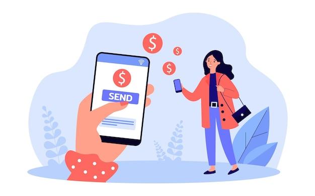 オンラインで女性に送金する女性の手。金融取引のフラットベクトルイラストにモバイルアプリを使用している人。バナー、ウェブサイトのデザイン、またはランディングウェブページの送金サービスのコンセプト