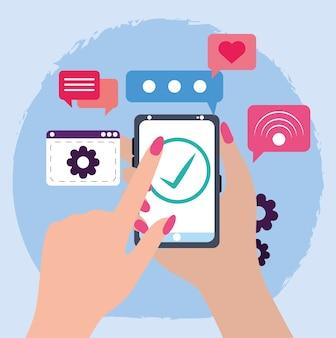 Женская рука смартфон галочка веб-сайт коммуникации
