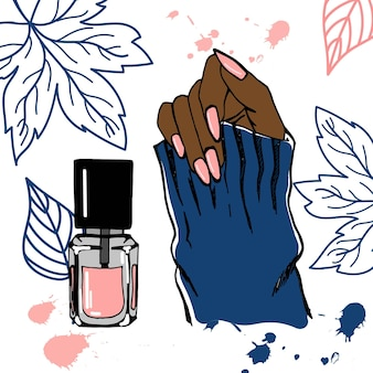 아름다운 분홍색 매니큐어와 여성의 손 손으로 그린 그림