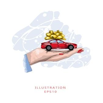 赤いマニキュアの女性の手は、ギフトの弓とミニチュア赤い車を保持します