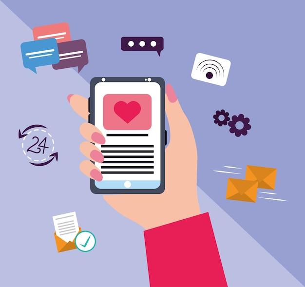 スマートフォンのsmsメッセージメールインターネット通信と女性の手
