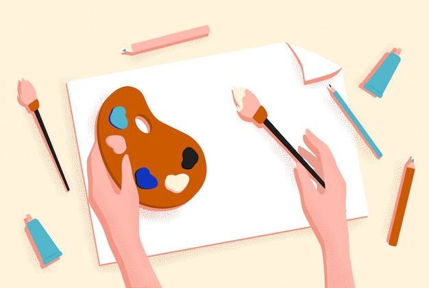 Female hands drawing picture with brush, paint and pencil  graphic illustration