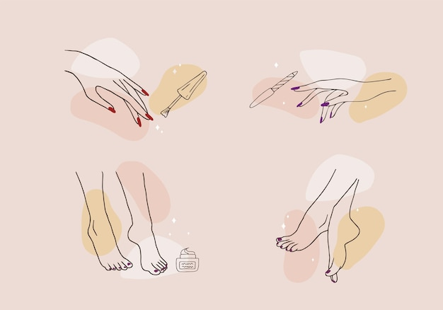 Female hands and feet. manicure and pedicure concept.