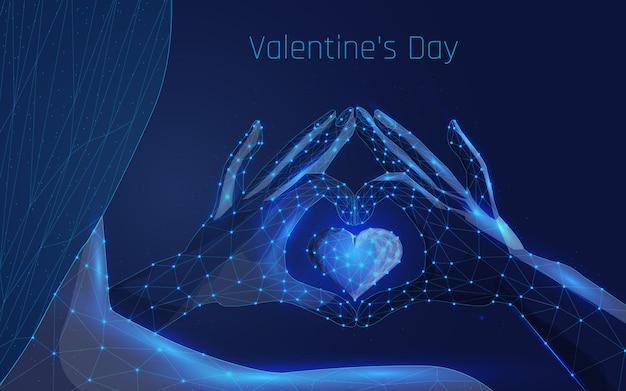 여성의 손은 사랑을 상징하는 심장이 있는 하트 모양으로 접혀 있습니다.