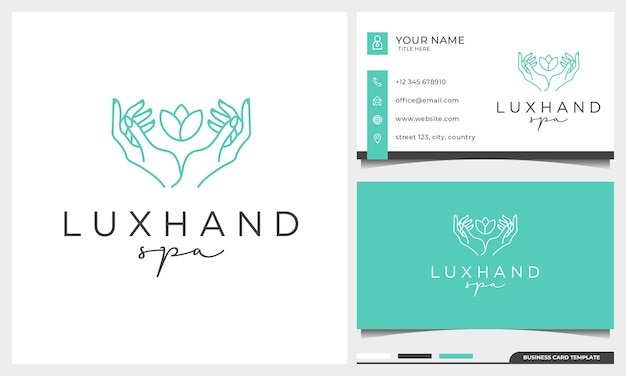 Женская линия жестов рук и шаблон дизайна логотипа цветка розы. простой минималистичный линейный стиль с шаблоном визитной карточки