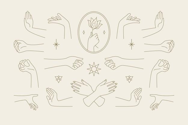 線画手描きスタイルイラストの女性の手のジェスチャーコレクション