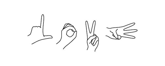 女性の手のジェスチャー指は言葉を愛します。ミニマリストスタイルの線形トレンドのベクトルアウトラインイラスト。 tシャツ、ポスター、バレンタインデーカードに印刷する