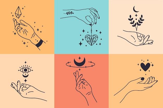 여성 손. 손으로 그린 최소한의 손 제스처. 크리스탈, 하트와 꽃 벡터 일러스트와 함께 여성 팔