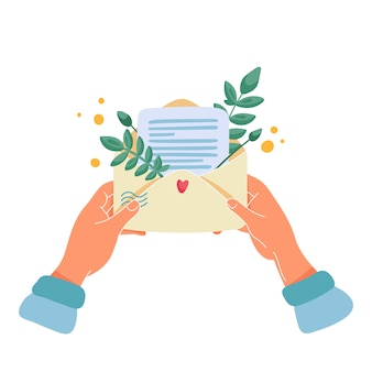 Female hands holding the envelope with letter or note and bouquet of leaves and yellow flowers inside. flat cartoon  illustration for romantic or greeting card.