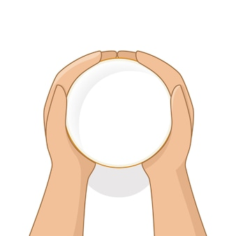Female hands holding glass of milk in cartoon style top view. vector illustration