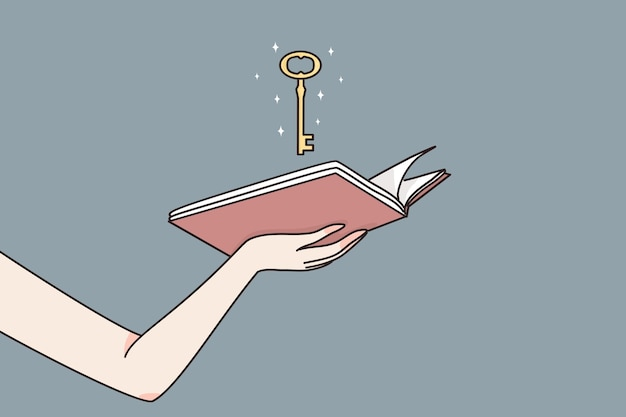 Female hands holding open book with magic golden key meaning chance to unlock wisdom