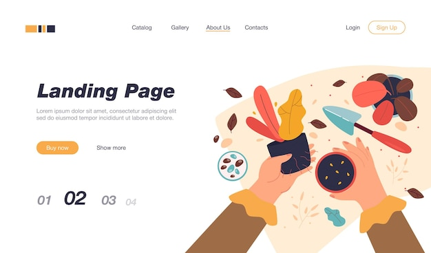 Female hands holding plant and pot with soil landing page template