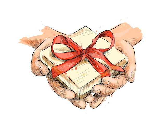 Female hands holding a small gift wrapped with red ribbon from a splash of watercolor, hand drawn sketch.  illustration of paints