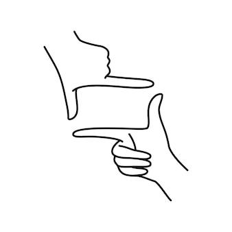 여성의 손은 제스처 프레임을 만듭니다. 트렌디한 미니멀리스트 스타일의 여성 손 카메라 기호의 벡터 그림. 로고 개념, 티셔츠, 포스터, 엽서에 인쇄