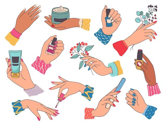 매니큐어와 여성 손입니다. 여자는 손톱, 크림, 파일, 꽃, 폴란드어 병을 들고 그림을 그립니다. 미용실 손톱과 손 관리 벡터 세트입니다. 도구 또는 장비를 갖춘 매니큐어 기술자