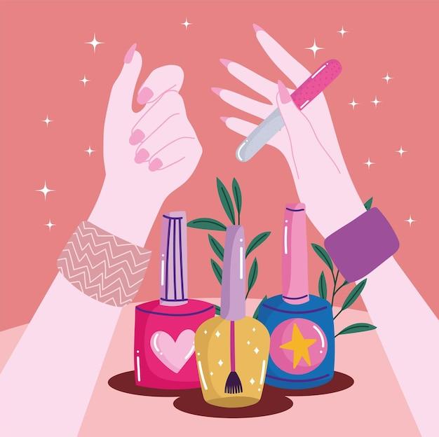 マニキュアと女性の手