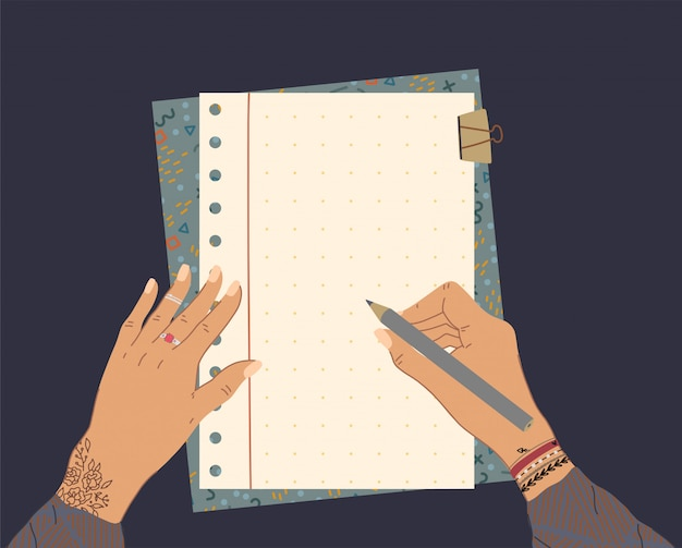 Female hands with tattoo and jewelry hold a pencil, top view with note list. planning and organization with beautiful notebook.  illustration.