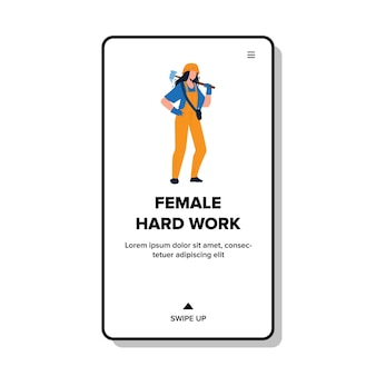 Female hard work on building or factory vector. young woman wearing profession uniform and helmet, holding hammer on female hard work. character working on job web flat cartoon illustration