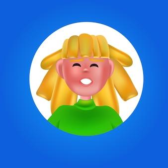 Женская голова в круглой рамке женщина аватар мультипликационный персонаж портрет векторная иллюстрация
