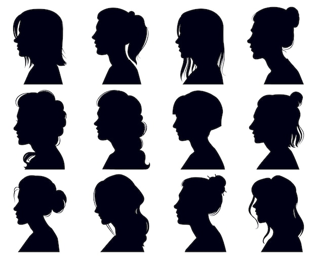 Female head silhouette. women faces profile portraits, adult female anonymous characters face silhouettes