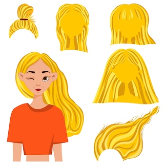 Female head with a set of hairstyles. cartoon style. vector illustration.