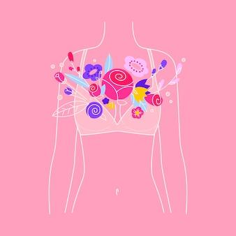 女性の健康の概念。健康な胸。乳がん治療グラフィックコンセプト。花と葉のプリントで女性の体。ボディケア、減量、治療についての様式化された図。