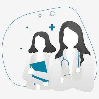 Vettore di personaggi di eroi medici femminili professionisti sanitari