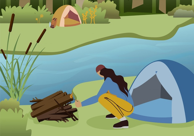Female hiker making campfire flat vector character